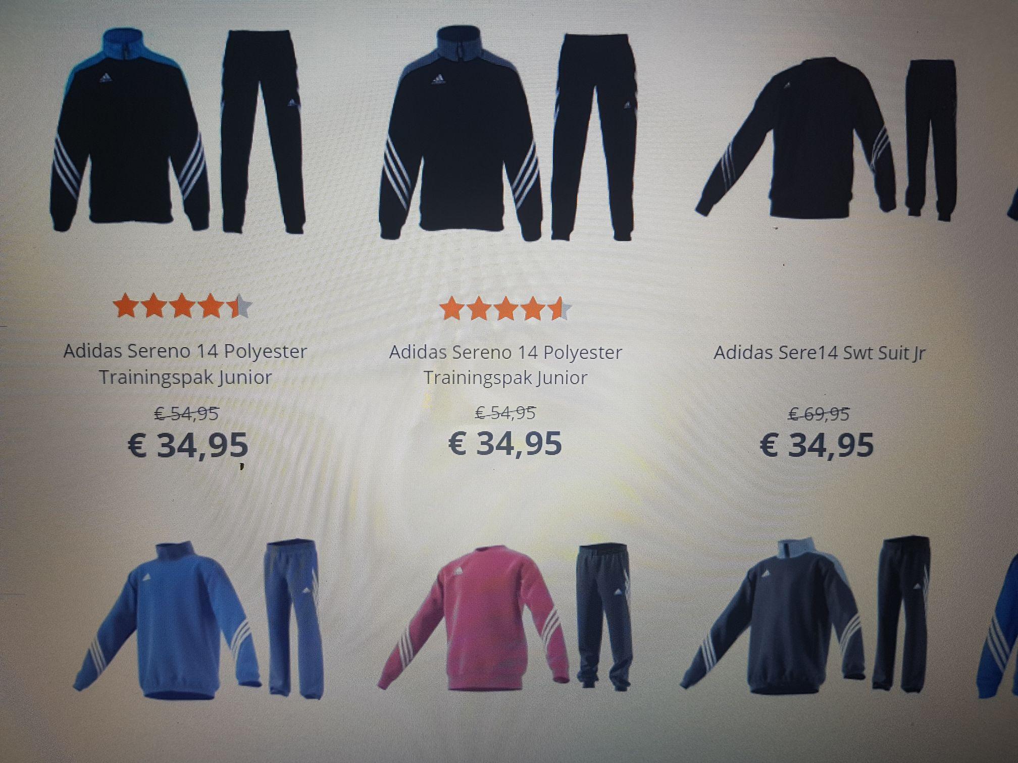 Tot € 35,- korting op o.a. (Adidas) Trainingspakken