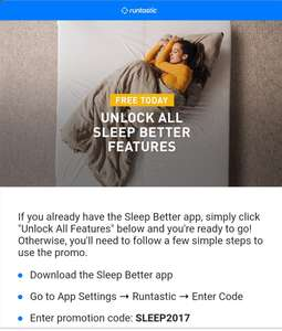 Runtastic Sleep Better, unlock all features