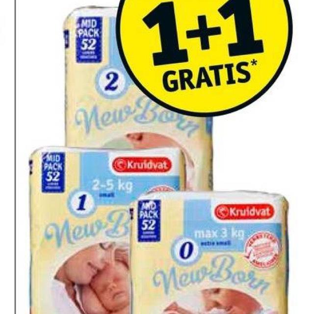 Kruidvat newbornluiers 1+1 gratis