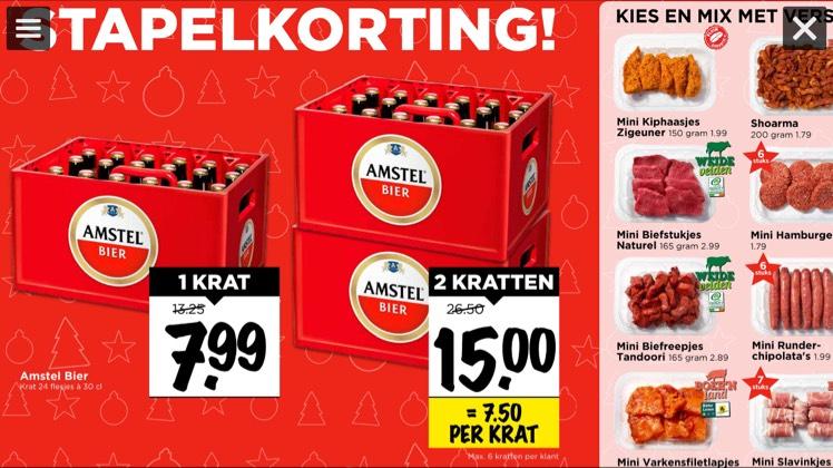 Amstel bier €7,50 per krat@vomar