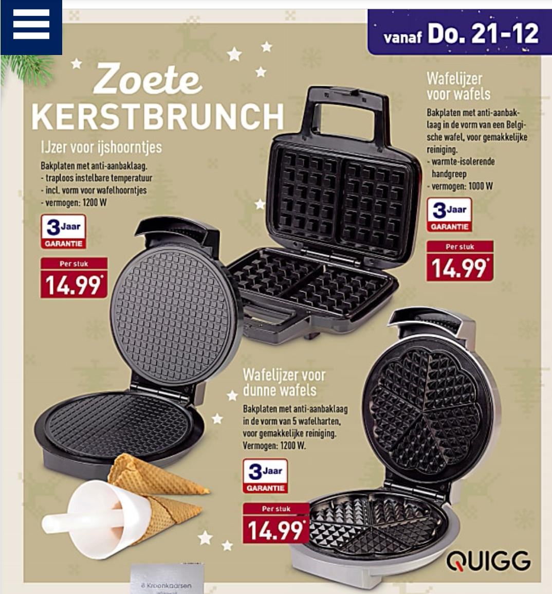 Aldi: verschillende soorten wafelijzers voor € 14,99 per stuk (vanaf 21-12).