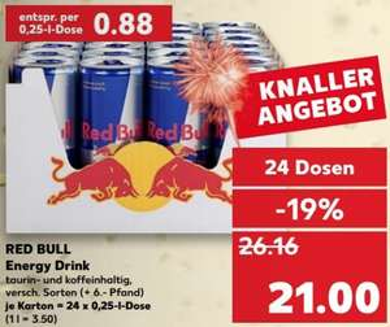 0,88 per blikje Red Bull 0,25L (24x) @ Kaufland DE [Grensdeal]