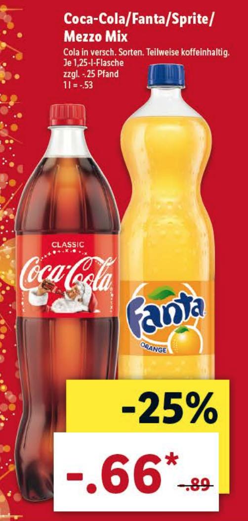 Coca-Cola/Fanta/Sprite/Mezzo Mix 1,25/liter fles @ Lidl DE [Grensdeal]