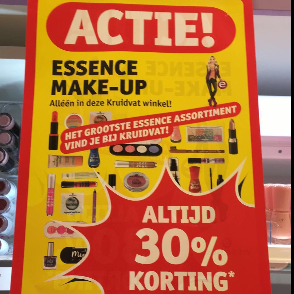 Altijd 30 procent korting op Essence make-up bij kruitvat in Den haag op de grotemarktstraat 38!!!