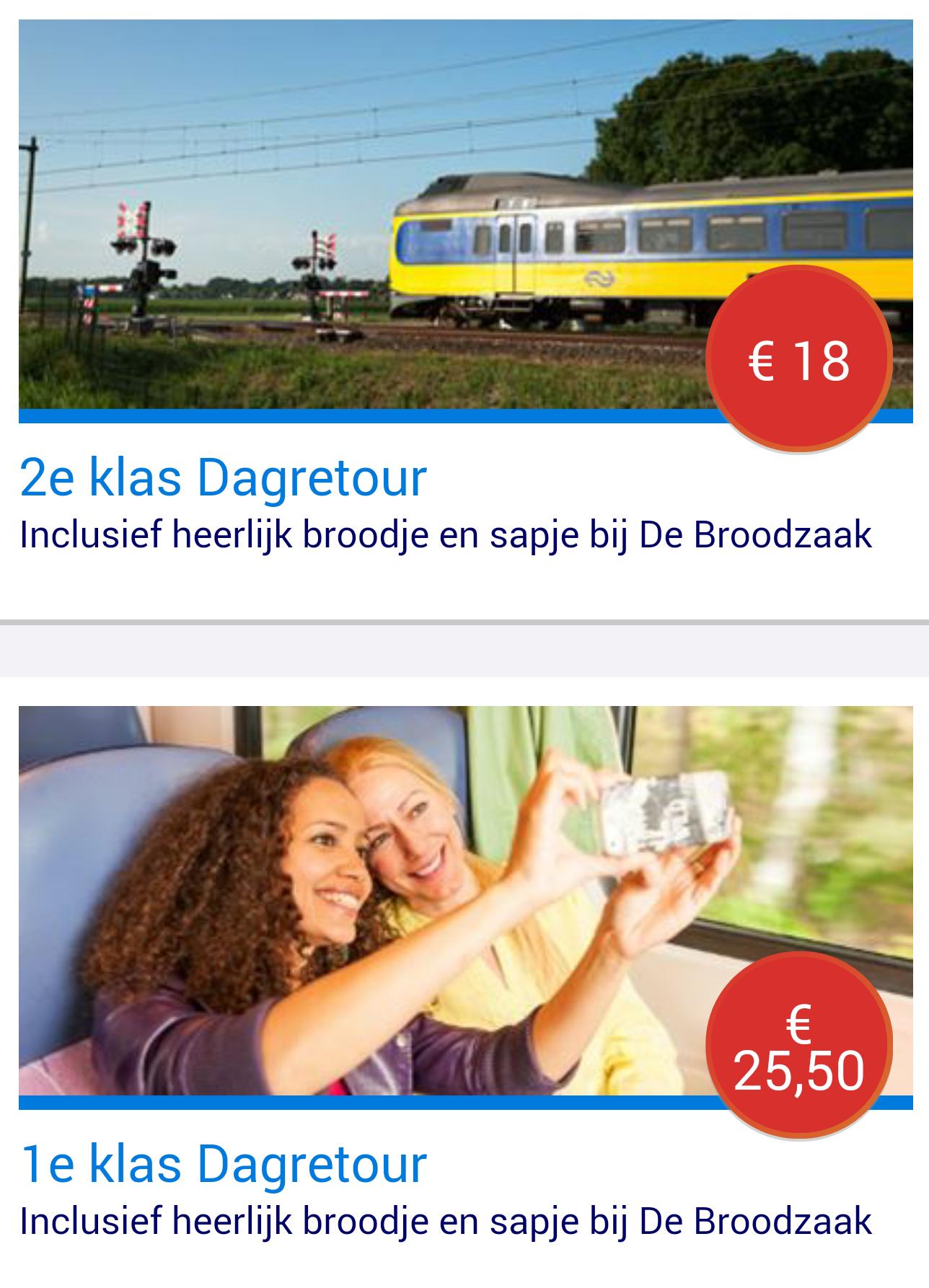 Dagretour 2e klas met broodje + sapje bij De Broodzaak voor  €18,- @ NS