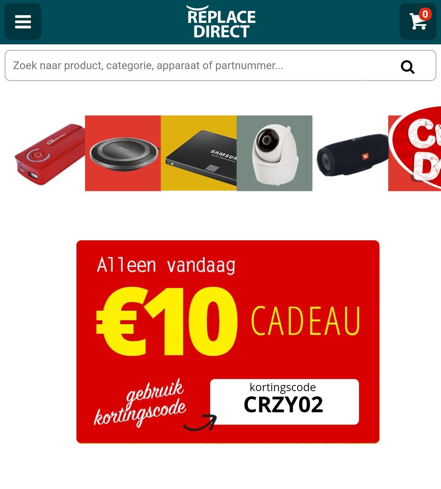 Replacedirect €10 korting vanaf €45