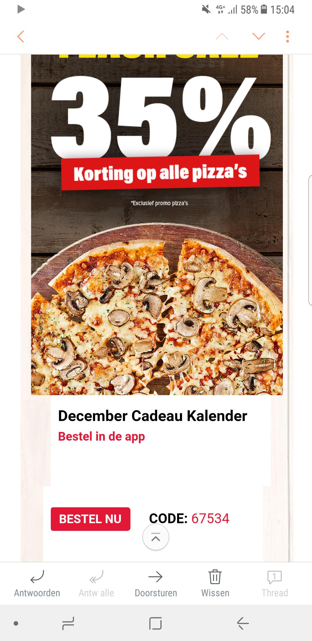 Domino's pizza 35% korting op alle pizza's ook bij bezorgen!