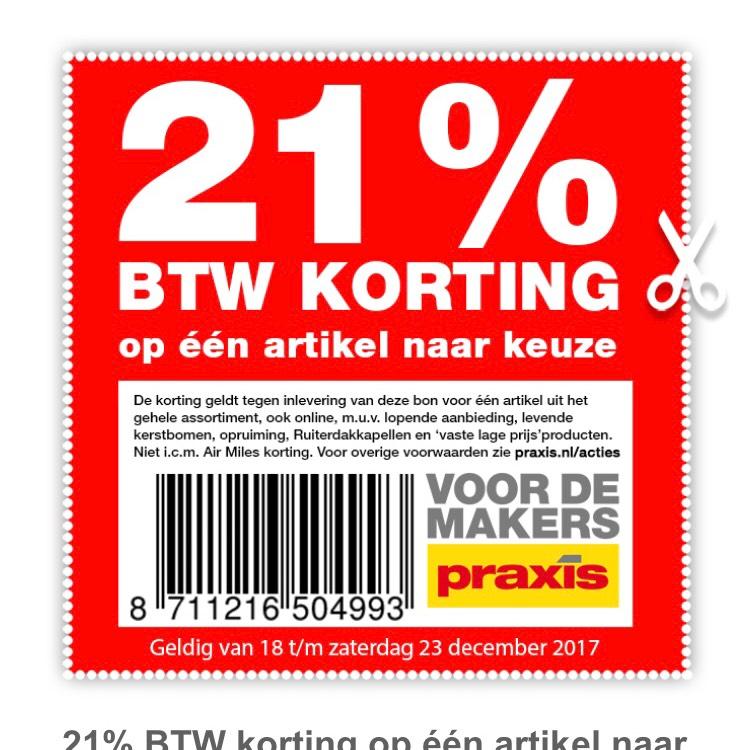 Praxis 21% btw korting