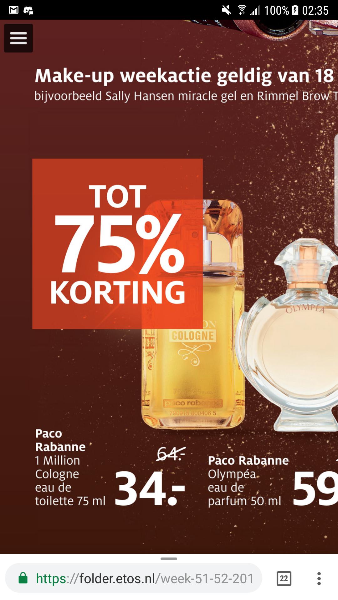 Paco Rabanne One Million cologne 75ml - eau de toilette for men voor €34 @ Etos