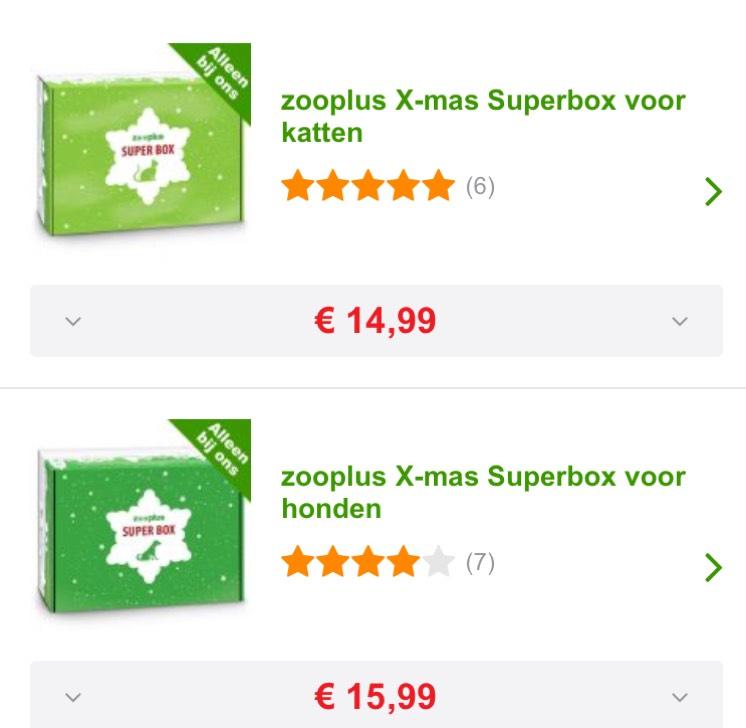 Zooplus X-mas Superbox voor katten (€14,99) en voor honden €15,99