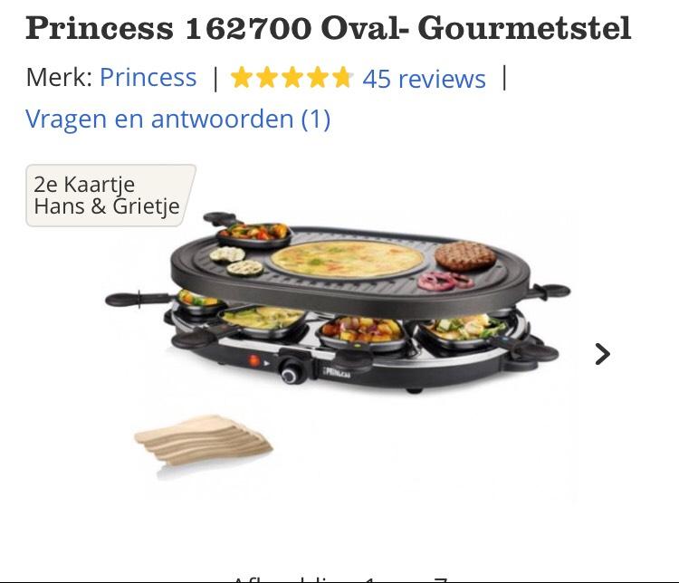 Princess 162700 Oval- Gourmetstel 8 pers. €19,95 @bol.com
