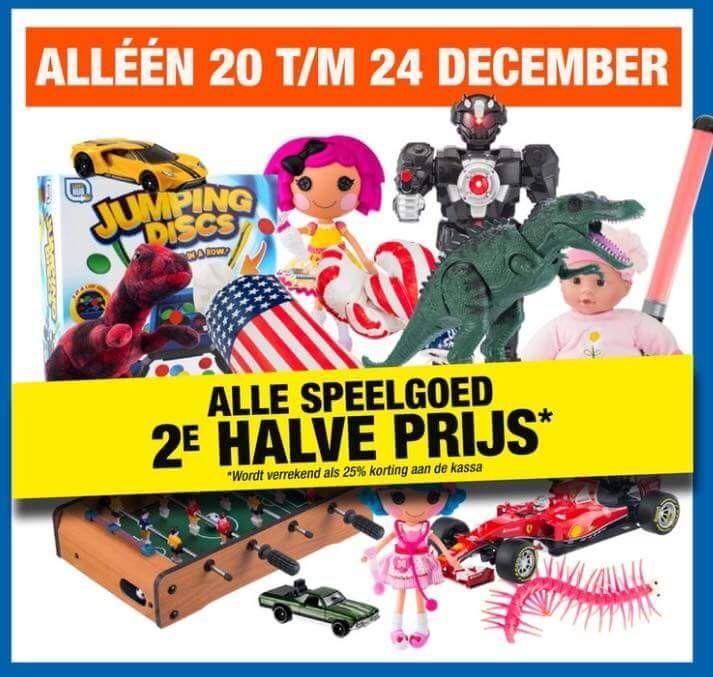 Al het speelgoed 2e halve prijs Big Bazar wordt verrekend als 25% korting aan de kassa