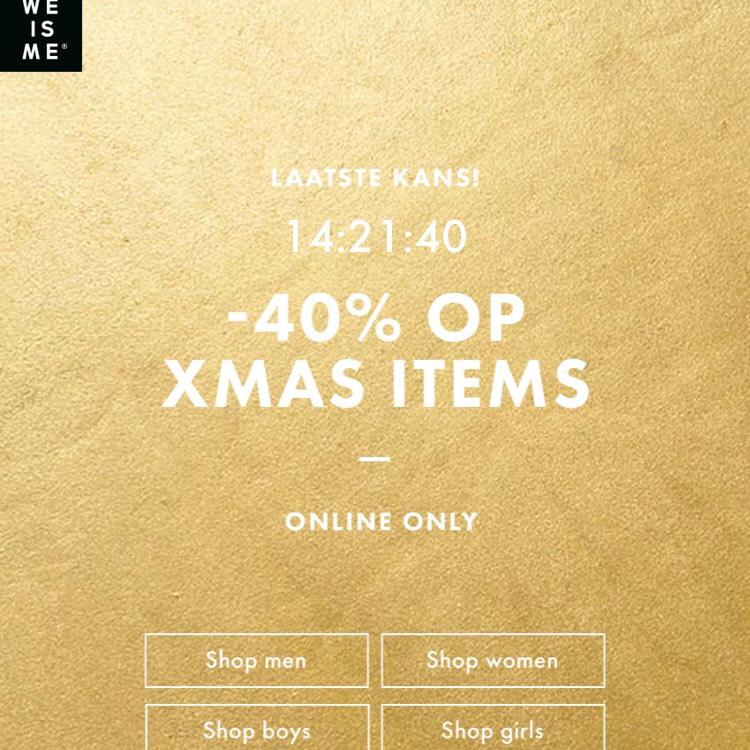 40% korting diverse Xmas kleding WE Fashion