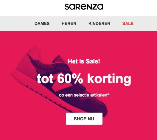 Sarenza tot 60% korting Sale