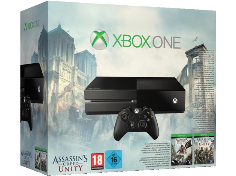 Xbox One 500GB (zwart) + Assassin's Creed Unity en Black Flag voor €299,- @ Media Markt Duitsland