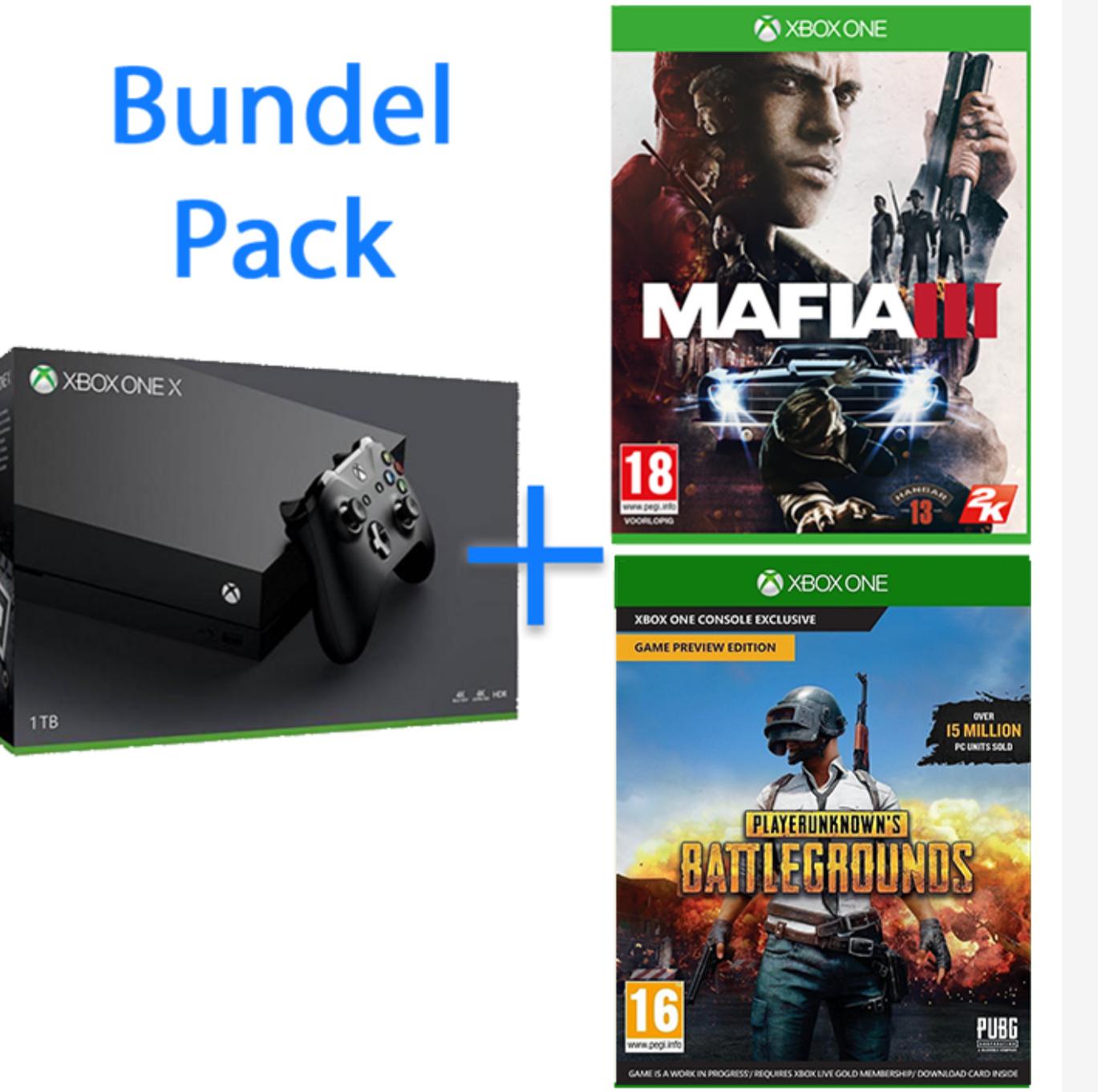 Xbox One X 1 TB  +Mafia en PlayerUnknown's Battlegrounds voor €465 @ YGZ