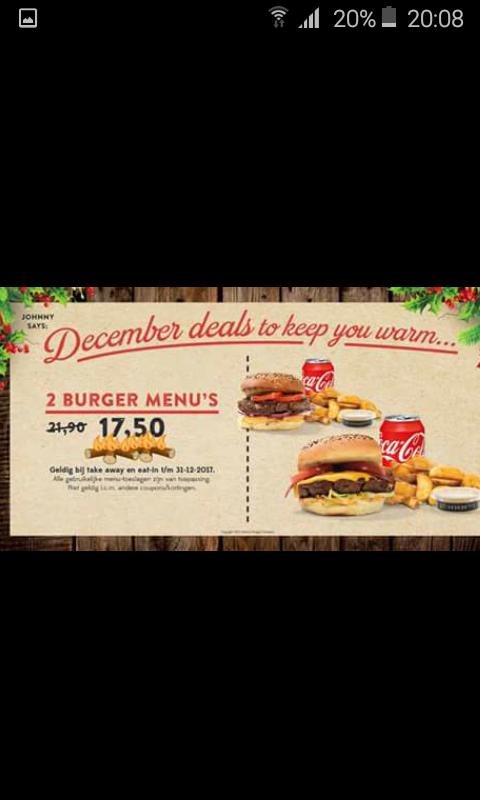 Johnny's Burger Company 2 menu's voor 17,50