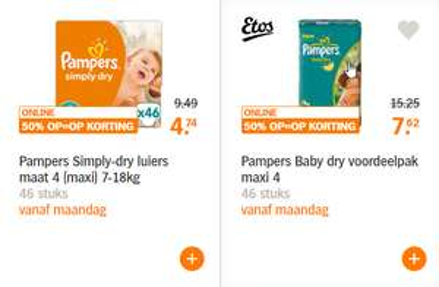 Diverse health & beauty aanbiedingen (o.a. Pampers) met 50% korting @ AH.nl