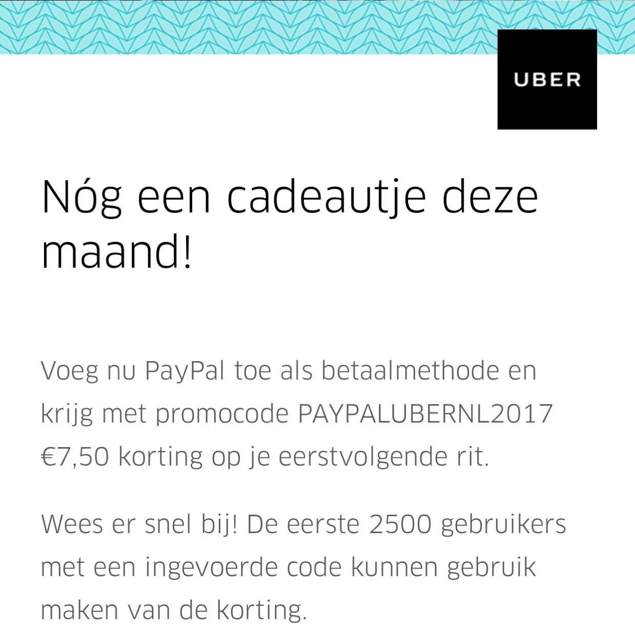 €7,50 korting @Uber
