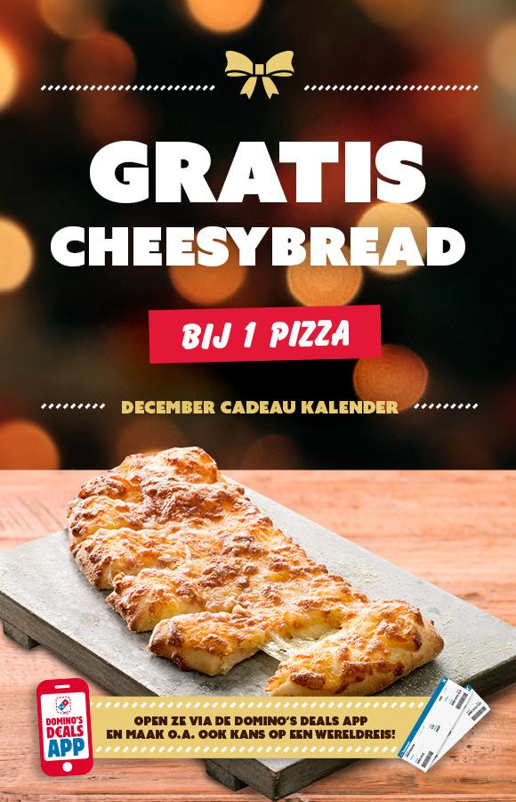Cadeau van vandaag: Gratis Cheesybread bij 1 pizza @ Domino's App
