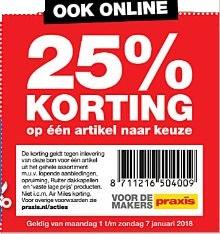 [UPDATE] 25% korting op één artikel naar keuze, ook online @ Praxis