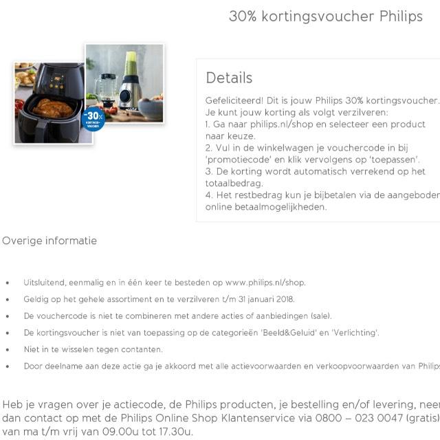 30% korting in de Philips webshop