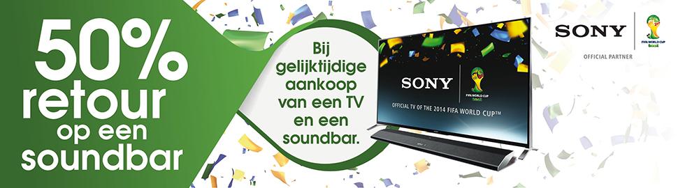 50% retour op een Sony Soundbar bij gelijktijdige aankoop van TV en Soundbar