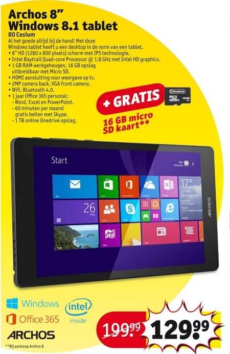 Archos 80 Cesium Tablet + gratis 16 GB micro sd kaart t.w.v €14,99 voor €129,99