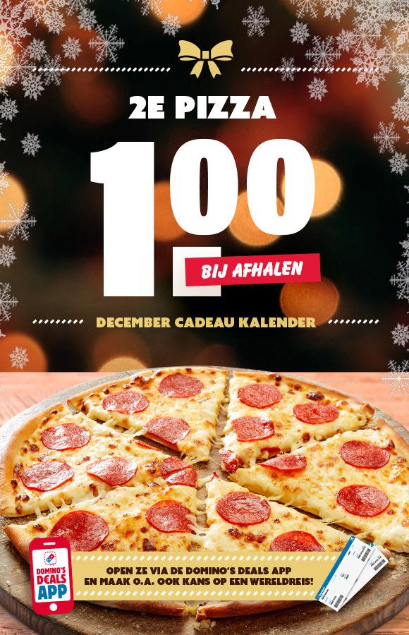 Kerst aanbieding: 2e pizza €1,- @ Domino's deals app