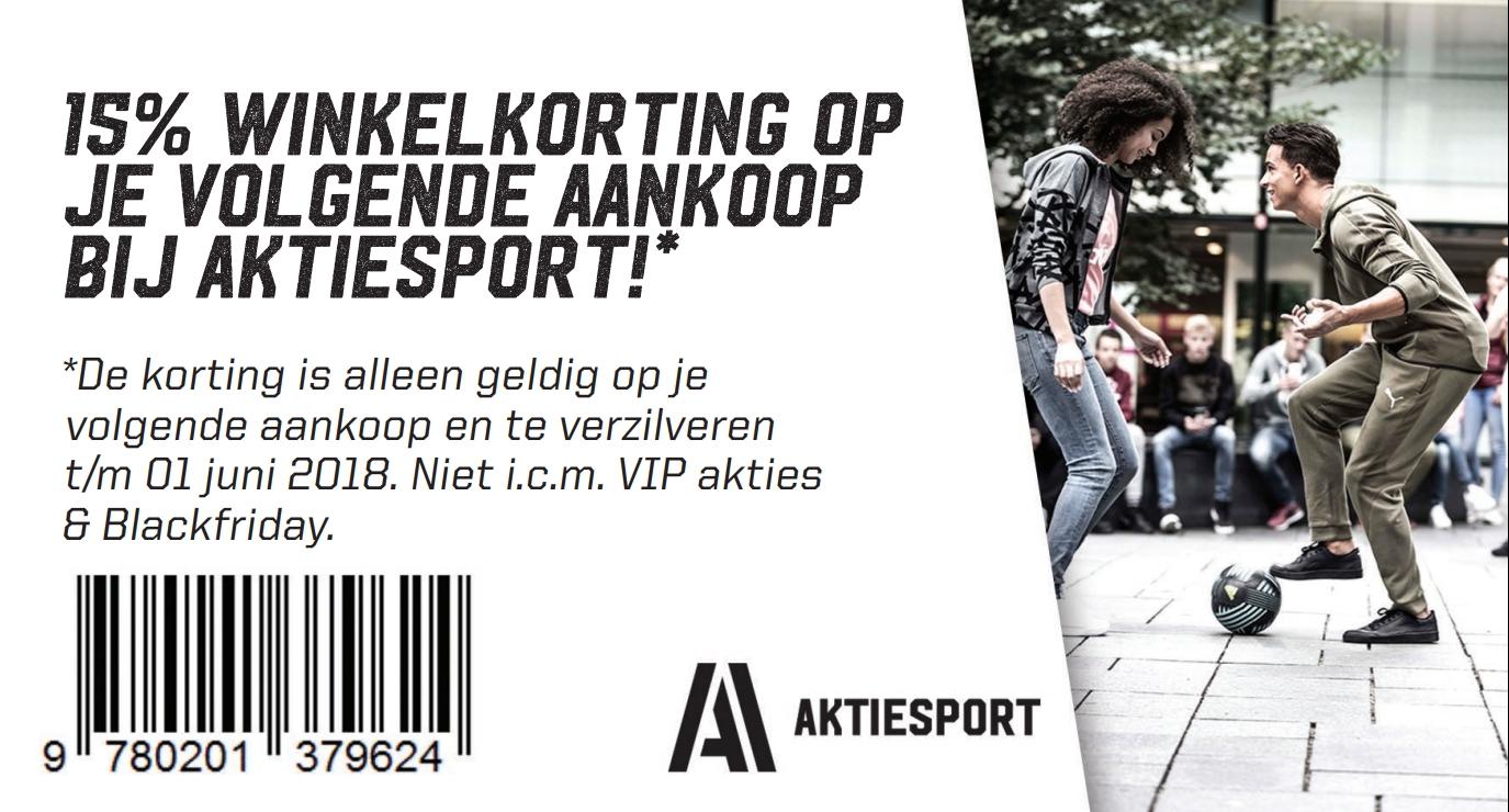 15% kortingsvoucher voor i/d winkel @ Aktiesport