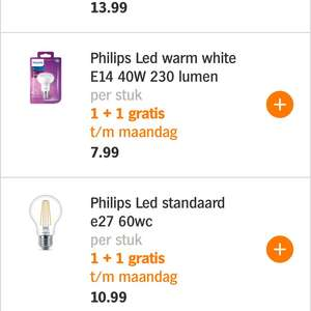 Alle Philips LED 1+1 gratis @ AH t/m 1 januari