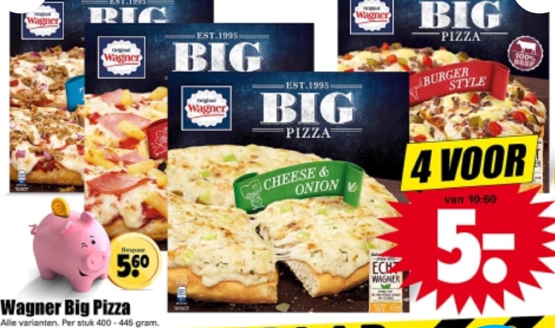 Wagner Big pizza 4 stuks voor maar €5,- bij Dirk.