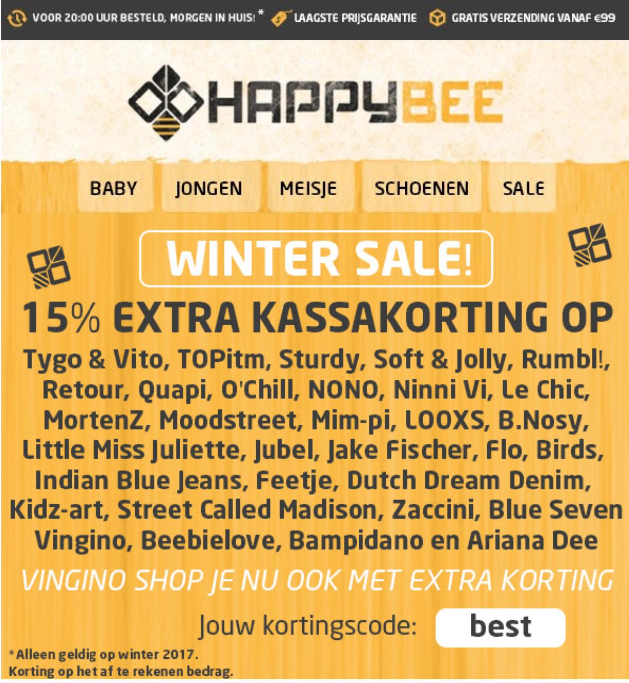 Tot 70% + 15% korting op kinderkleding @Happybee