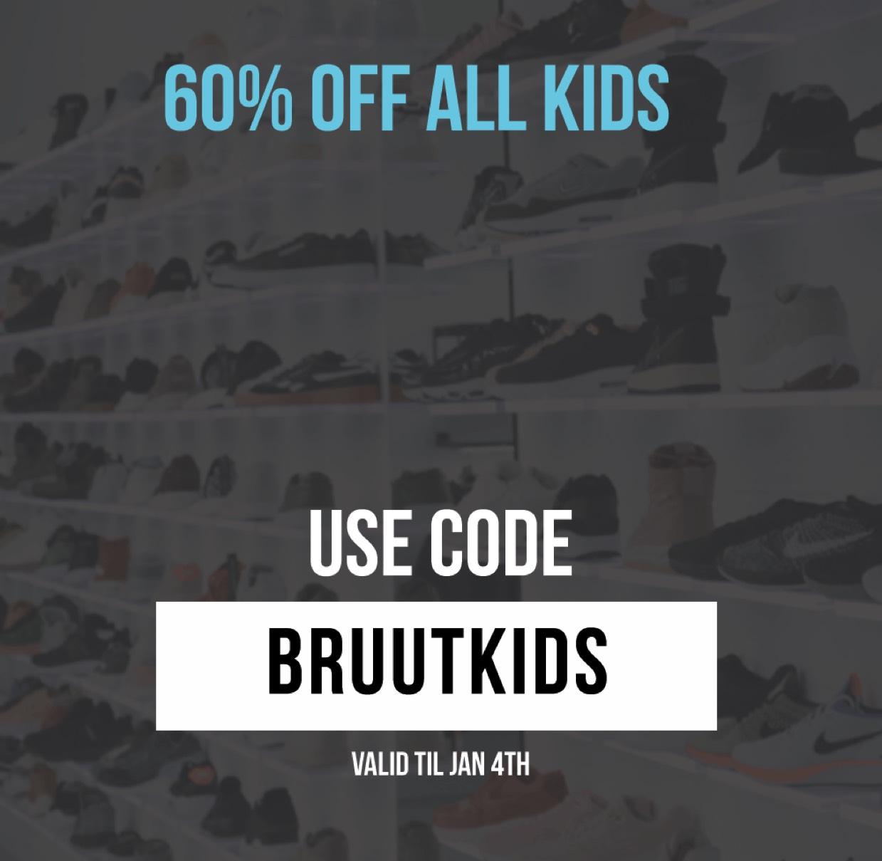 60% korting op alle kidssneakers @Bruut!