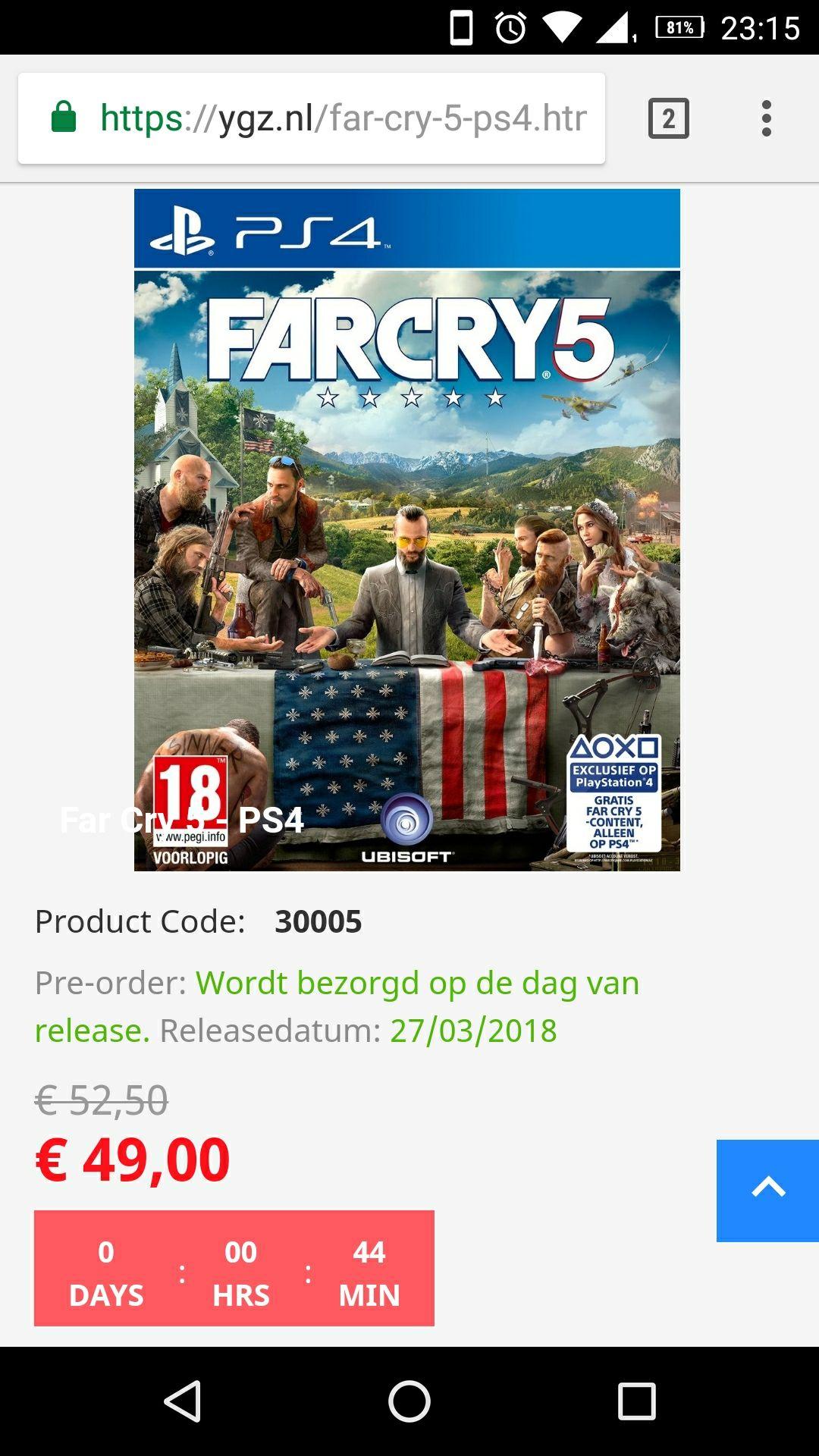 Far Cry 5 pre-order dagaanbieding NOG EEN PAAR MIN!