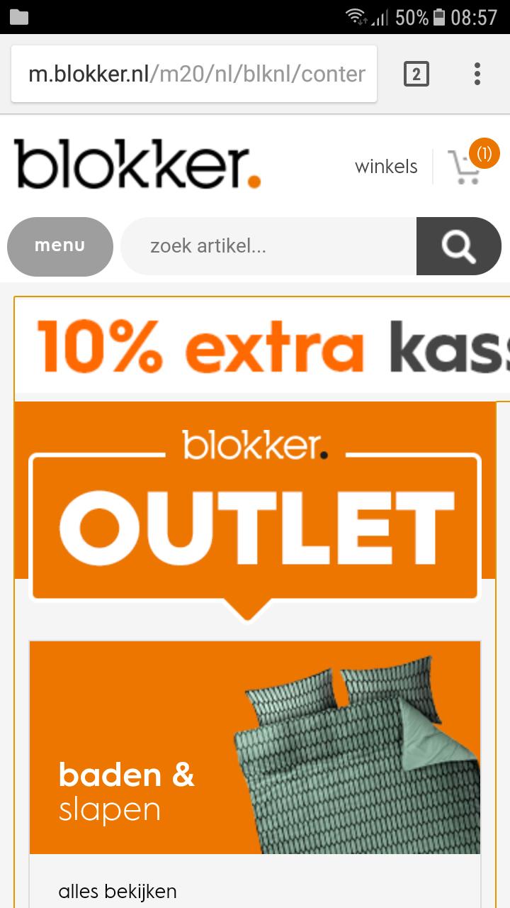 10% extra kassakorting bovenop de outlet prijzen bij blokker
