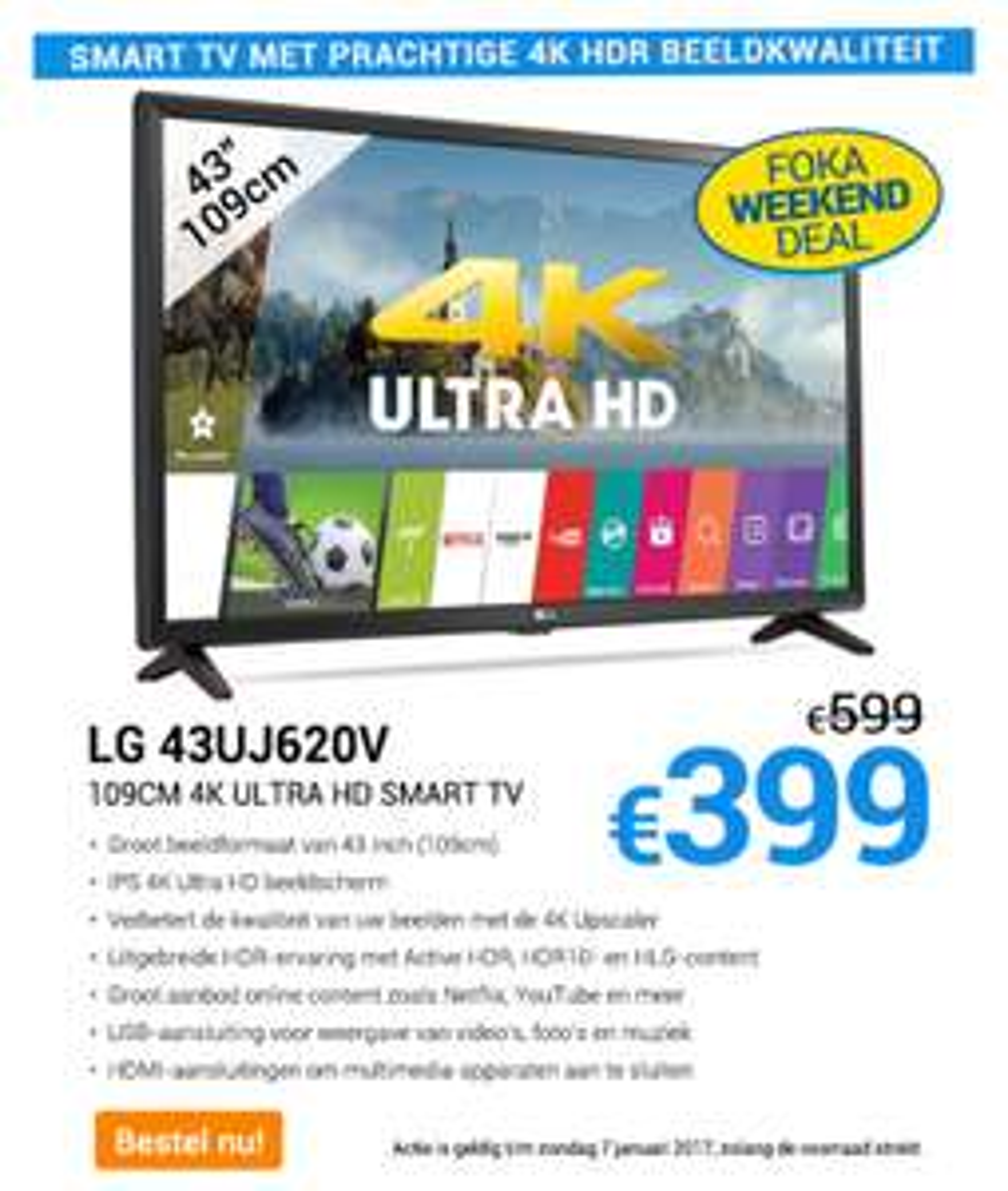 weekend deal lg 4k ultra hd tv 43uj620v 399 foka. Black Bedroom Furniture Sets. Home Design Ideas