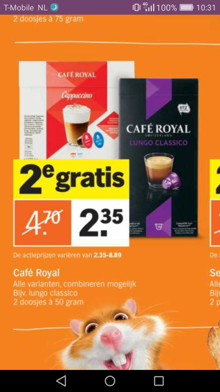 1+1 gratis vanaf maandag Cafe Royal bij AH