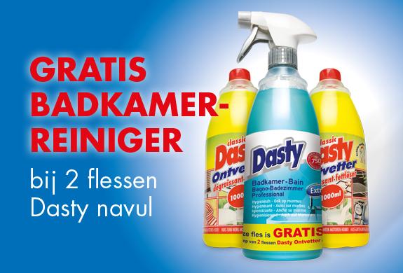 Gratis Dasty badkamer reiniger bij aankoop van 2 navul ontvetter bij Wibra