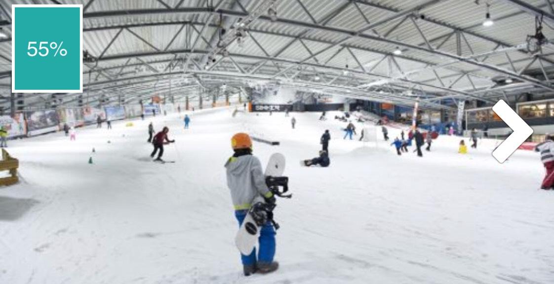 2 uur skiën of snowboarden van €22,- voor €9,95 p.p.