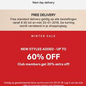 H&M Wintersale 60% + 20% extra korting