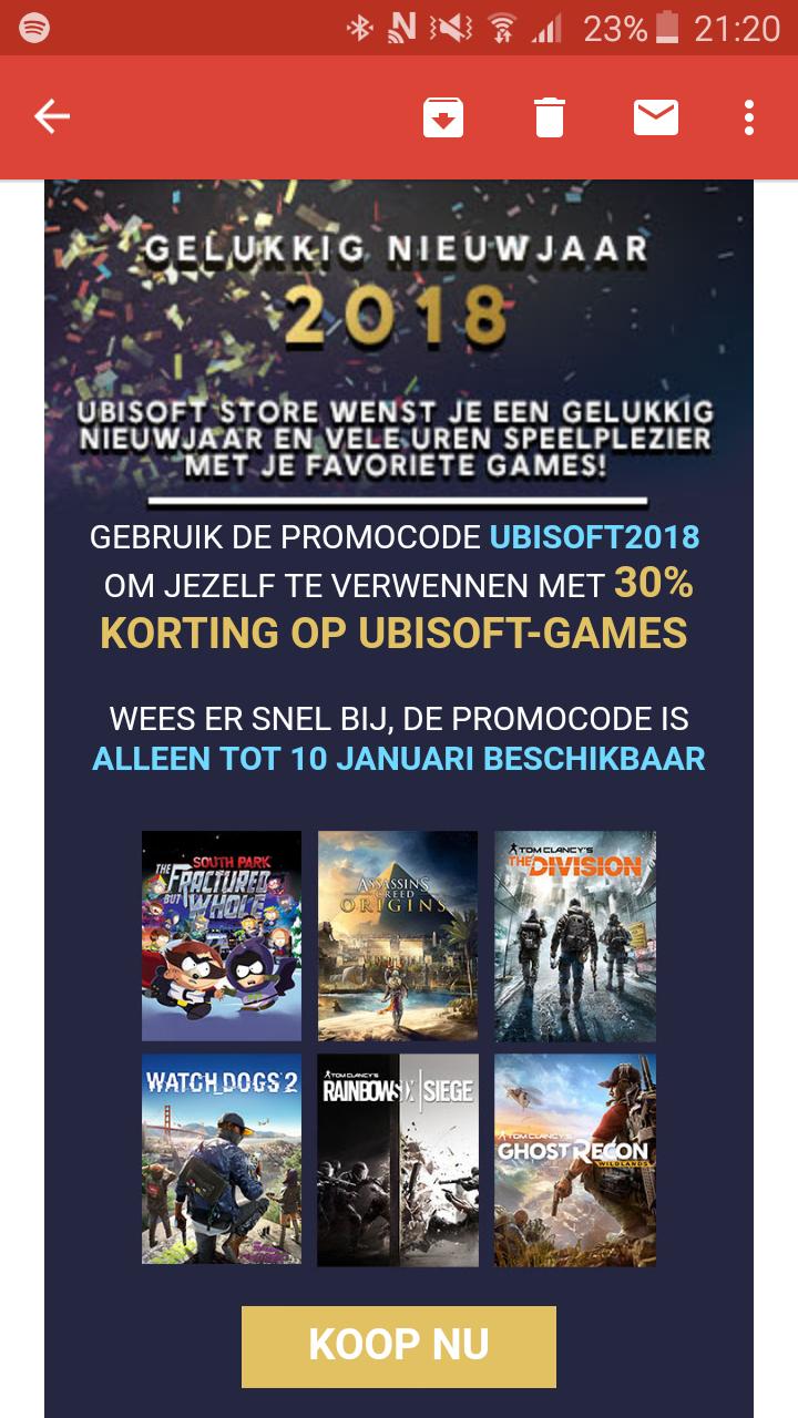 30% korting bij Ubisoft