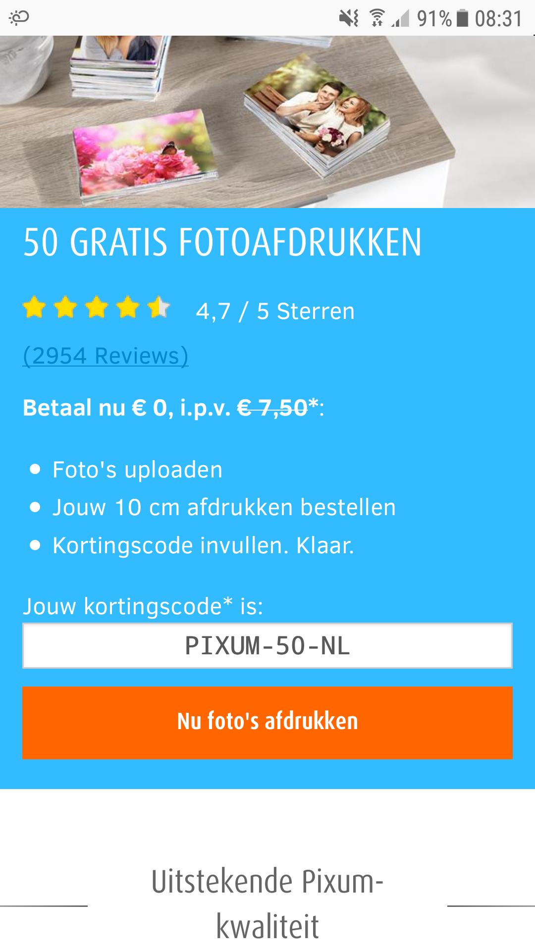 50 foto's van 10 cm afdrukken voor €0 (+€3,99 verzendkosten)