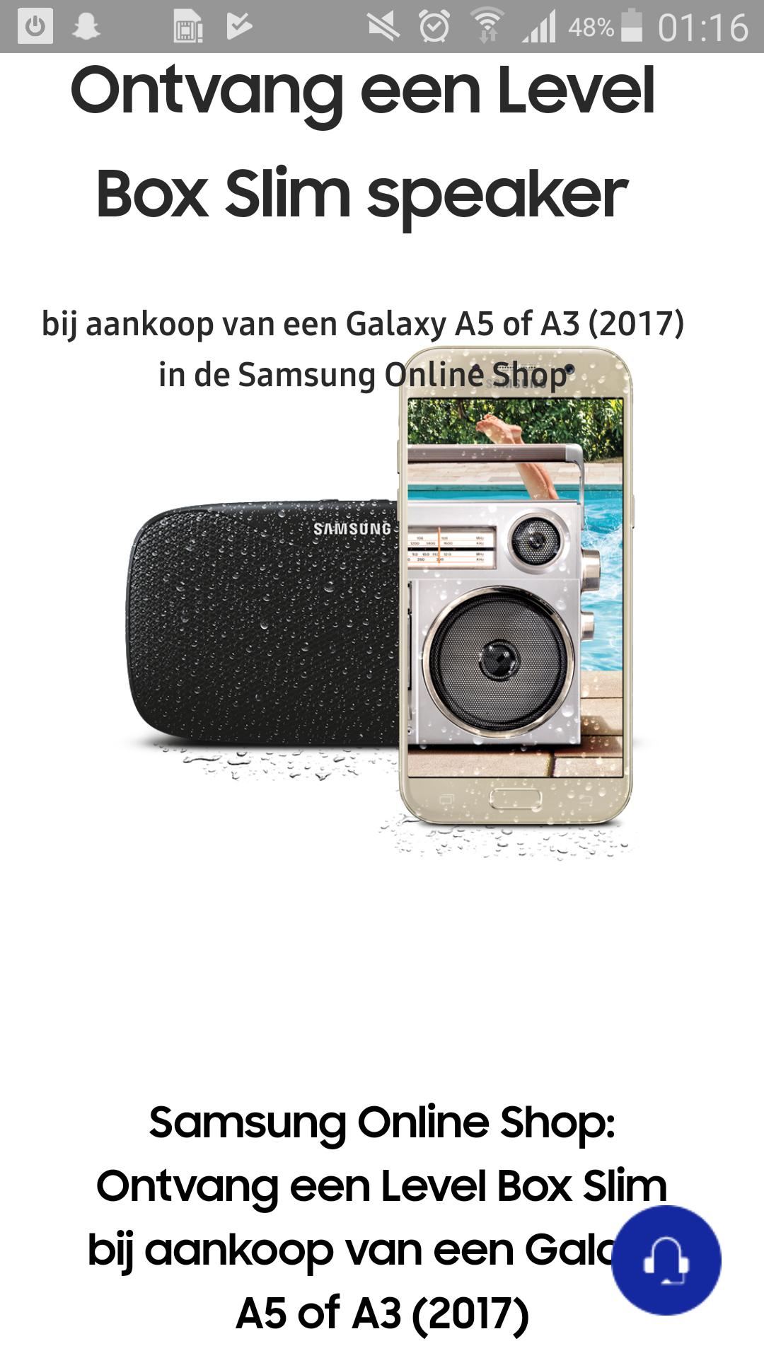 GRATIS Speaker bij aankoop SAMSUNG a5 en a3 2017