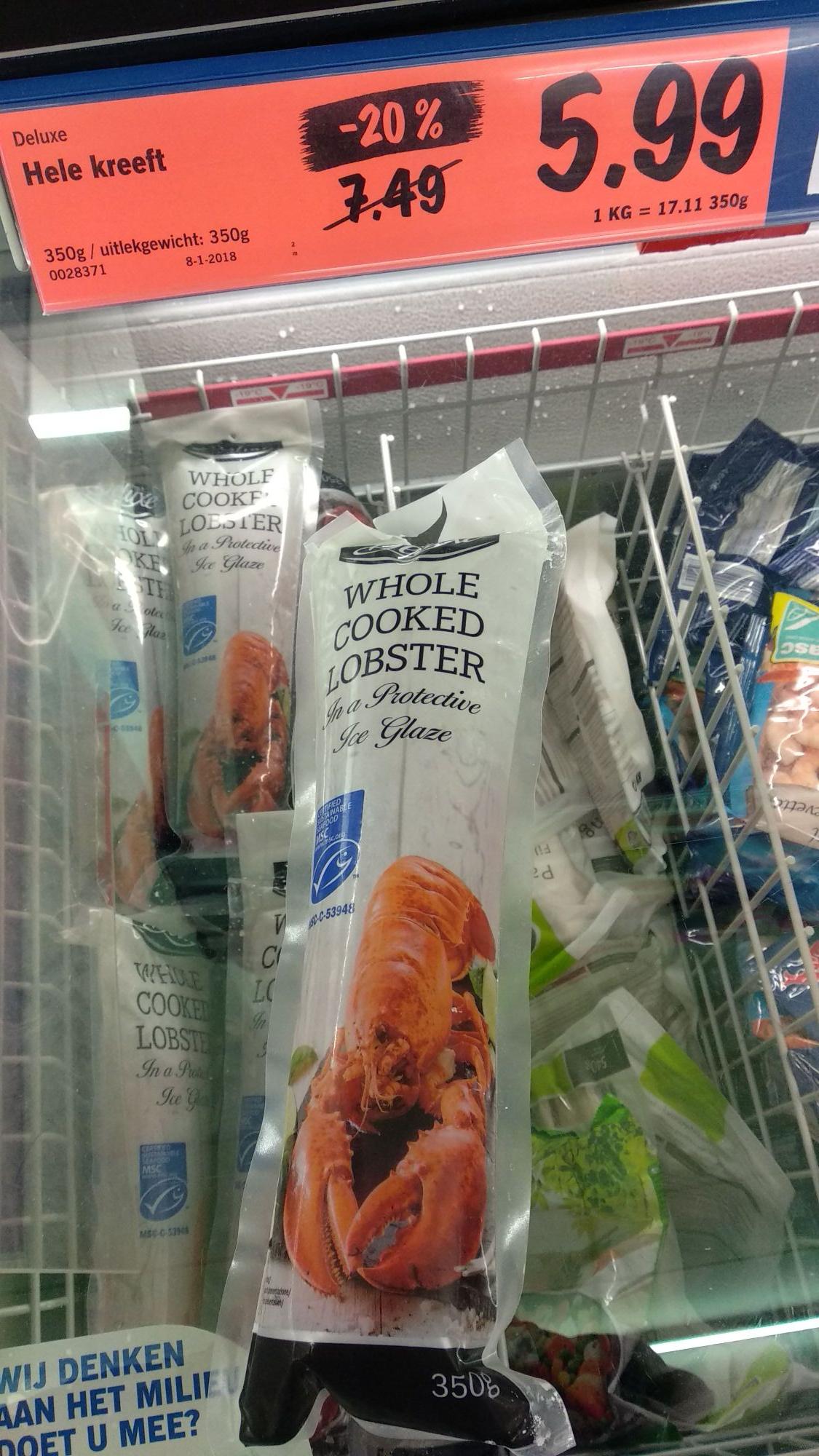 Lobster. gekookte zeekreeft (diepvries lidl)