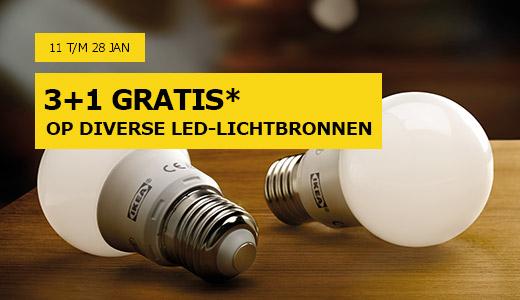 3+1 gratis op diverse led-lichtbronnen @IKEA