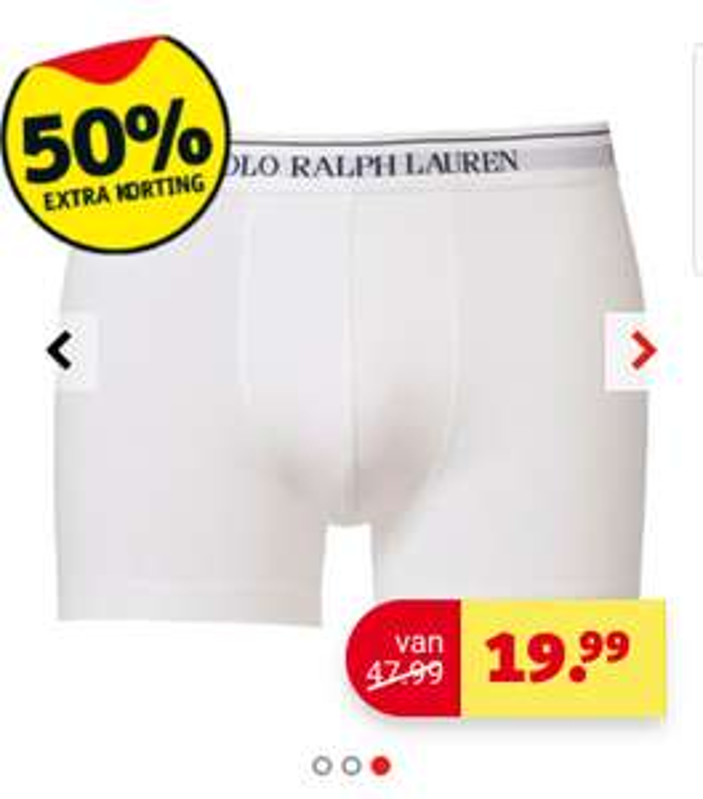 3 Ralph Lauren boxershort wit L, XL of XXL @ kruidvat