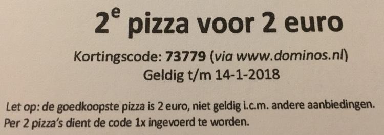 Domino's pizza 2de pizza voor 2 euro