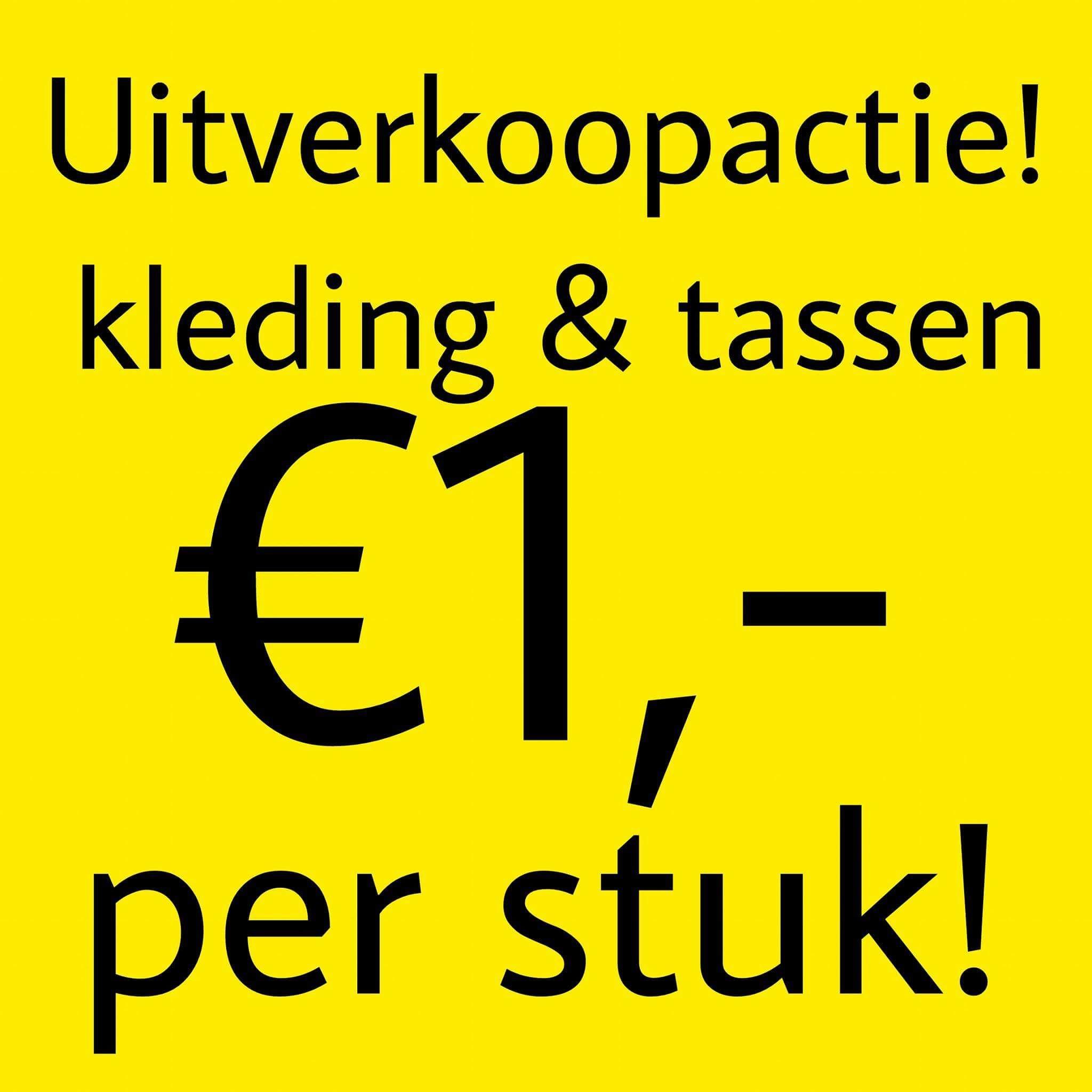 Vanaf morgen alle kleding en tassen €1,- per stuk bij Prijsmepper Roermond