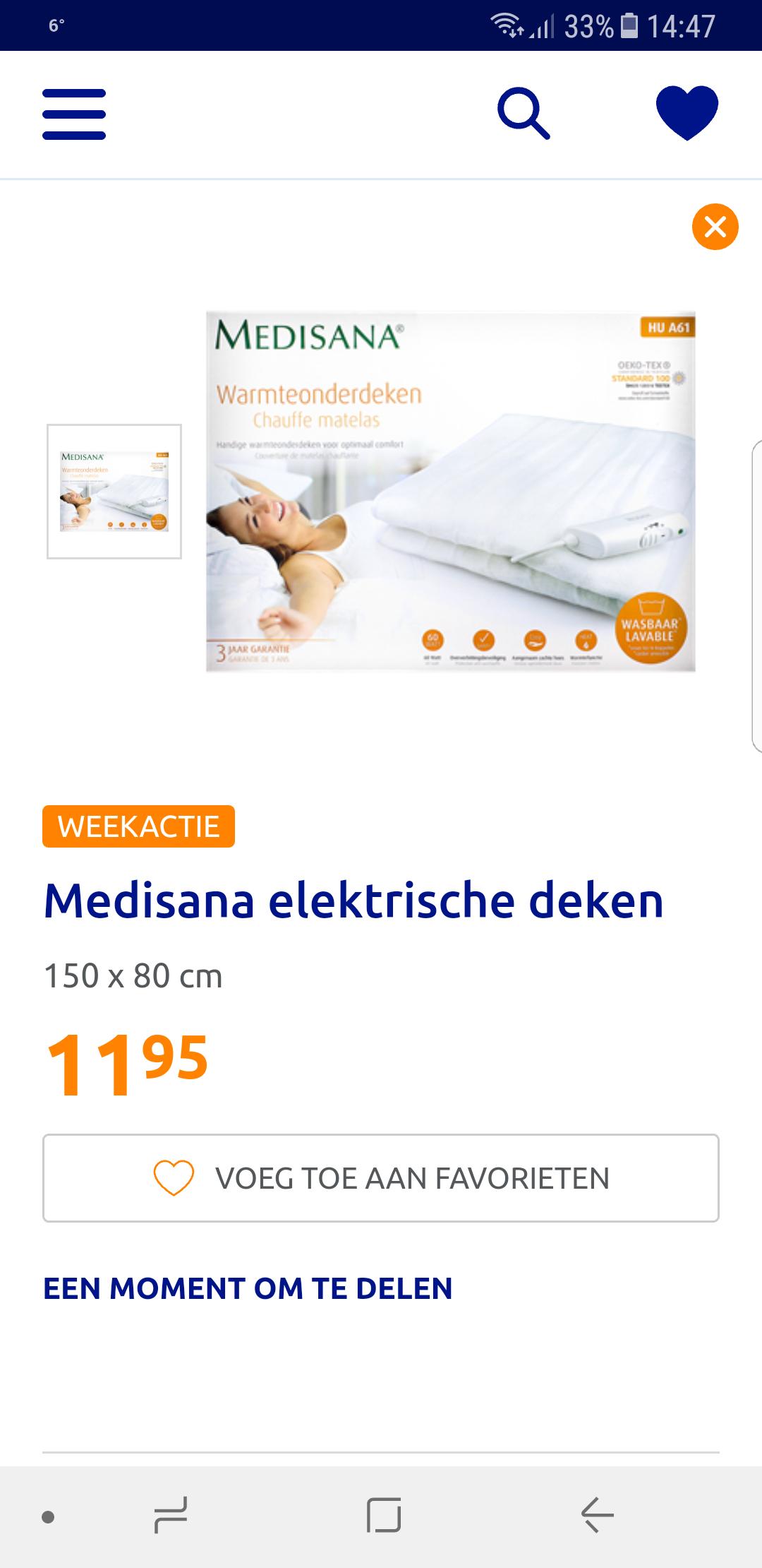 Medisana elektrische (onder)deken bij Action voor 11,95